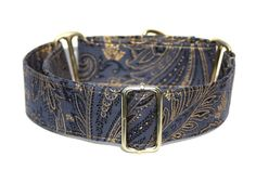 Blue and Gold Paisley Martingale Dog Collar 1.5 by TheHuskysTorque