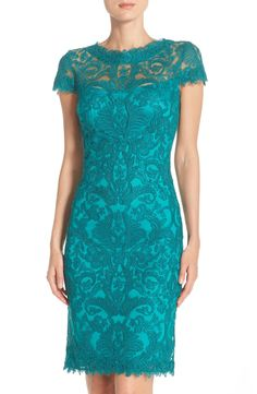 Free shipping and returns on Tadashi Shoji Illusion Yoke Lace Sheath Dress (Regular & Petite) at Nordstrom.com. Exquisite, beautifully symmetrical lace is fashioned into a breathtaking sheath dress. The illusion yoke and cap sleeves lend a refreshing sheerness to the polished look while detailed trim softens the overall silhouette.