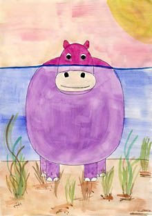 Ein Hippo geht baden You are in the right place about Art Education secondary Here we offer you the Art Education Lessons, Art Lessons Elementary, Physical Education, Drawing For Kids, Art For Kids, Drawing Ideas, Kindergarten Art, Arte Pop, Expo