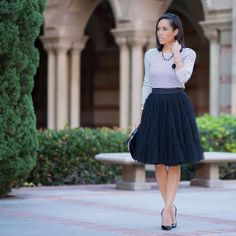 Black & White is in this Fall. Make it interesting buy adding stripes, textures and matching accessories like @jennyplogstyle. #tulleskirt #bloggerstyle