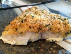 Another great twist on white fish! Pair with a light veggie side for a complete meal. Cod Fillet Recipes, Baked Cod Recipes, Veg Recipes, Seafood Recipes, Panko Crumbs, Bread Crumbs, Homemade Pastries, Thing 1, Baked Fish