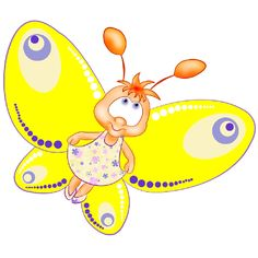 Funny Cartoon Butterfly Images. Clip Art Images Are On A Transparent Background