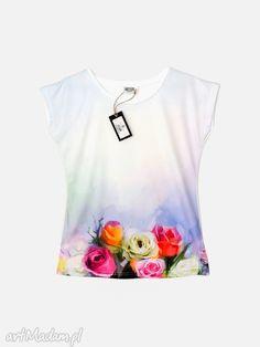 Artystyczna bluzka damska - Pastelowe róże Wysoka jakość!. $27