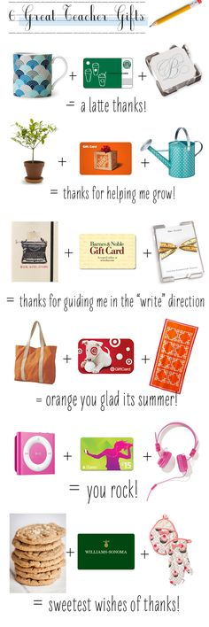 Amazing gift ideas (especially for teachers) with cute phrases. Makes giving a gift card a little more exciting!