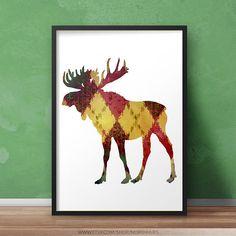 Moose Poster Color Pattern Instant Download Moose Silhouette, Digital Prints, Digital Art, Poster Colour, Poster Prints, Art Prints, Your Image, My Images, Color Patterns