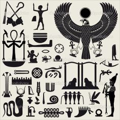 Illustration about Ancient Egyptian symbols and signs.Collection of different silhouettes. Illustration of manuscript, sign, pattern - 13599494 Egyptian Symbols, Ancient Egyptian Art, Ancient Symbols, Egyptian Symbol Tattoo, Mayan Symbols, Viking Symbols, Viking Runes, Tattoo Geometrique, Egyptian Party