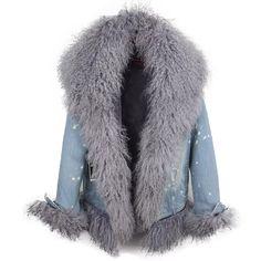 2018 autumn winter new real lamb fur collar winter cowboy coat fur coat women plus velvet casual demin dots jacket femme Parka Coat, Fur Coat, Fall Winter, Autumn, Fur Collars, Velvet, Clothes For Women, Lamb, Casual