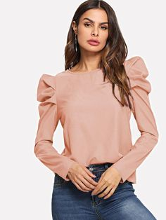 Shop Keyhole Back Puff Sleeve Top online. SHEIN offers Keyhole Back Puff Sleeve Top & more to fit your fashionable needs. Leg Of Mutton Sleeve, Plain Tops, Spring Shirts, Work Tops, Mode Hijab, Casual Fall, Men Casual, Types Of Sleeves, Blouse Designs