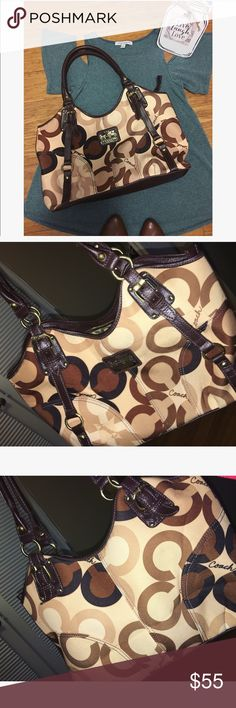 Brown & Tan Coach Satchel - BEAUTIFUL 💼 Condition: Normal Wear from nearing used. Any and all fraying are shown in pics. This bag is still in very great shape. Coach Bags Satchels