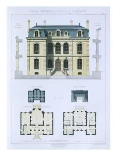 Design from 'Town and Country Houses Based on the Modern Houses of Paris', (Colour Litho)- Leblanc-Giclee Print Japanese Architecture, Architecture Drawings, Classical Architecture, Facade Architecture, Architecture Diagrams, Architecture Portfolio, Contemporary Architecture, Small House Plans, House Floor Plans