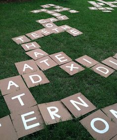 DIY Outdoor Scrabble Game or could use large tiles as an unscramble puzzle