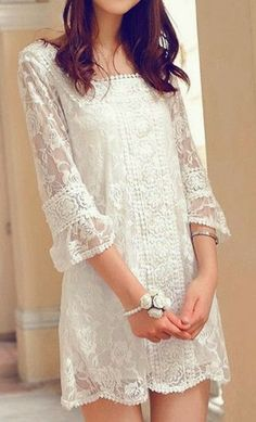 Spring bridal shower outfit casual white lace 30 Ideas for 2019 Pretty Dresses, Beautiful Dresses, Mode Ab 50, Lingerie Look, Top Mode, Shower Outfits, Mode Boho, Look Chic, Mode Style