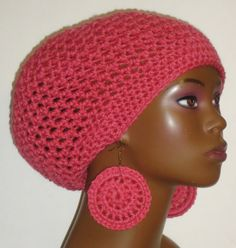 Rose Crochet Beret/Small Tam and Earrings by Razonda Lee