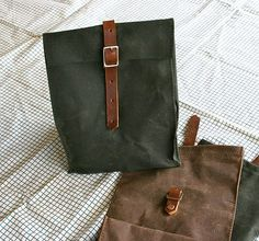 Dark Green Waxed Canvas Lunch Bag ($20-50) - Svpply