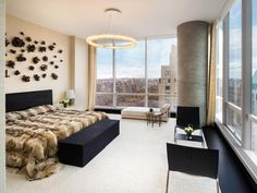 This is one of the most expensive penthouses in new york city . Just look at that luxurious view over the city. Duplex New York, New York Penthouse, Luxury Penthouse, New York City, One Bedroom, Bedroom Sets, Dream Bedroom, Bedroom Inspo, Snuggles