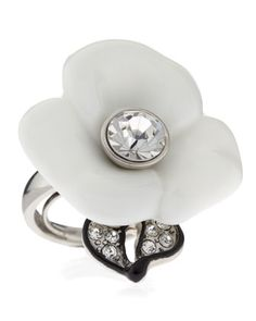 Flower & Rhinestone Ring by Kenneth Jay Lane at Last Call by Neiman Marcus. Last Call, Clearance Sale, Neiman Marcus, Beautiful Flowers, Heart Ring, Flower Rings, Sparkle, Wedding Rings, Riveting