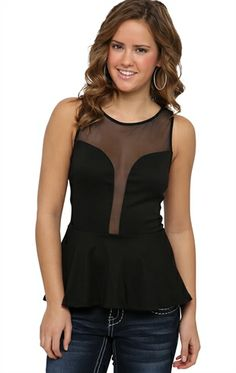 Peplum Tank Top with Illusion Neckline