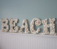 Beach decor seashell letters.
