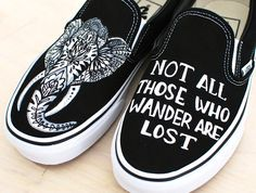 """These one-of-a-kind hand-painted shoes that feature an Indian Elephant on one shoe and the quote """"Not all those who wander are lost"""" on the other shoe. This order is customizable as I can paint this o"""