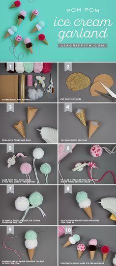 #kidscraft #easycraft www.LiaGriffith.com Diy Decoration Chambre, Pom Pom Garland, Pom Pom Diy, Pom Poms, Pom Pom Tutorial, Diy Garland, Pom Pom Crafts, Easter Garland, Cute Crafts