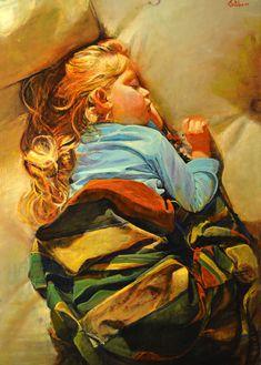 "Marco Ortolan; Oil, Painting ""Soñando"""