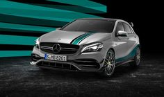 is celebrating this year's outstanding motorsport achievement with an exclusive special model: the MERCEDES AMG PETRONAS 2015 World Champion Edition of the A 45 Take a look! [Mercedes-AMG A 45 Mercedes Benz Amg, Mercedes G Wagon, Mercedes Benz Retail, Carros Mercedes Benz, Mercedes Vito, Benz Car, Paul Walker, Porsche, Carl Benz