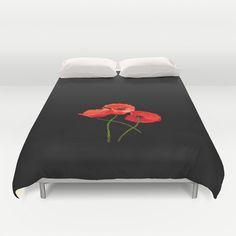 3 Poppies on Black Duvet Cover by Lynn Bolt - $99.00