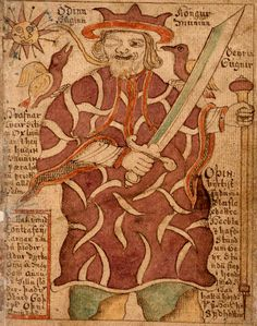 Nordic God Odin | Odin in an Icelandic illuminated manuscript (18th century)