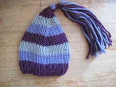 three coloured Pixie hat with tassle  3-6 months by bebebeecouture