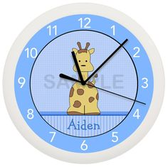 Blue Giraffe Nursery Wall Clock by cabgodfrey on Etsy