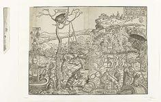 Anonymous | Strijd tussen het ware geloof en de valse geestelijkheid, Anonymous, c. 1530 | Allegorie op de strijd tussen het ware geloof van de Bijbelgetrouwen en de valse geestelijkheid. De geestelijkheid heeft verschillende gedaantes. Afgezien van de menselijke gedaante zijn ze ook afgebeeld als vossen, honden, zwijnen en op de achtergrond als een groep wilde dieren. In het midden wordt jacht gemaakt op het Hert van het Oude en Nieuwe Testament, dat symbool staat voor de Bijbelgetrouwen…