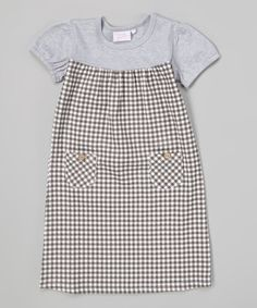 Another great find on #zulily! Gray Gingham Pocket Shift Dress - Girls by Modest Boutique #zulilyfinds