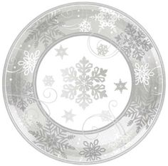Custom u0026 Unique 12  Inch 8 Count Multi-Pack Set of Big Extra Large Size Round Circle Disposable Paper Plates w/ Festive Modern Sparkling Snowflake Frozen ...  sc 1 st  Pinterest & White-stag-on-red-snowflake-background paper plates. | Merry ...