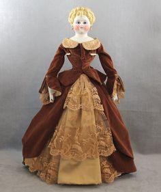 c1860s Parian Lady Doll Glass Eyes Pierced Ears Rare from joysdolls on Ruby Lane