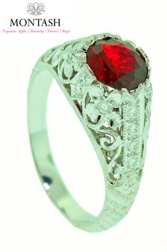 This week we focus on July's #birthstone – RUBY! #Ruby is a deep #red colour gem which is prized for its hardness, durability and lustre!  With up to 30% off this gorgeous ring why not come in and try it on! or more information see http://on.fb.me/1R134c1 #montashjewellerydesign