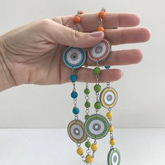 One-of-a-kind necklace with paper beads. Paper Jewelry, Paper Beads, Jewelry Art, Paper Quilling Earrings, Quilling Art, First Anniversary Paper, Polymer Clay Owl, Pointed Nails, Quilling Patterns
