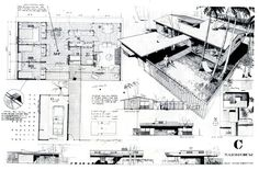 ArchitectureWeek People and Places: Ralph Rapson - Small House Competition Design Arch-presentations,Architecture,dibujos,Drawings, Architecture Concept Drawings, Architecture Board, School Architecture, Sustainable Architecture, Modern Architecture, Sketches Arquitectura, Architecture Presentation Board, Presentation Boards, Project Presentation