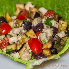 Insalatina di pesce spada melanzane, pomodorini e olive