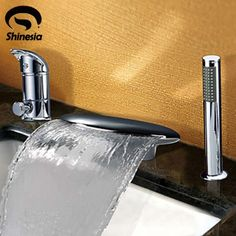 66.55$  Watch here - http://aliu0h.shopchina.info/go.php?t=1331721258 - Contemporary Chrome Finish Widespread Waterfall Tub Faucet Mixer W/Hand Shower 66.55$ #buyonlinewebsite