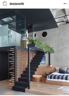 Awesome Loft Staircase Design Ideas You Have To See 02 A staircase is a vital part of a log home as it defines the beauty of the house. Loft Staircase, Modern Staircase, Staircase Design, Staircase Ideas, Home Interior Design, Interior Architecture, Room Interior, Exterior Design, Apartment Interior