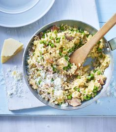 Chicken and pea risotto - it's quick, easy and cheap because all the stock goes in at once and it uses up leftovers