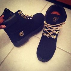 GOLD CHAIN LACE BLACK TIMBERLANDS