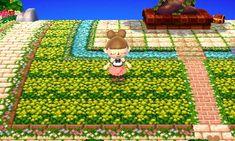 コスモス村の散歩道 【QRコード】タイル、春の芝生、菜の花畑