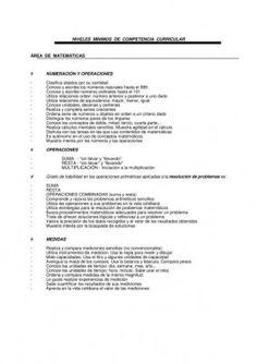 NIVELES  MÍNIMOS  DE  COMPETENCIA  CURRICULAR Matematicas
