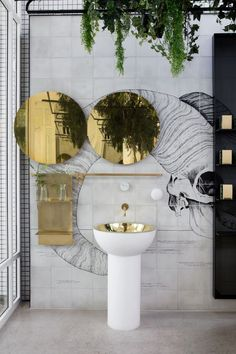 Mirrors – Home Decor : Redroaster Cafe in London, UK by The Stella Collective | Yellowtrace | #bathroom -Read More –