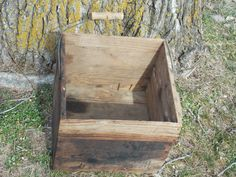 Primitive hand made wooden box, Rustic decor, Wire bail and wooden handle, country wedding, wooden crate by DocsOddsandEnds on Etsy