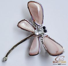 MOTHER OF PEARL SHELL DRAGONFLY PIN BROOCH SILVER PLATED JEWELRY ZN80 00152 #ZL #Seeitemtitle