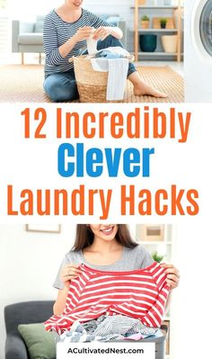 12 Incredibly Clever Laundry Hacks- Make washing and drying clothes less of a chore with these incredibly clever laundry hacks! They'll save you time and money! | #laundry #hacks #cleaningTips #frugalLiving #ACultivatedNest Doing Laundry, Laundry Hacks, Laundry Room, How To Shrink Clothes, Dingy Whites, Commercial Laundry, Homemade Laundry Detergent, Wool Dryer Balls, Bar Carts