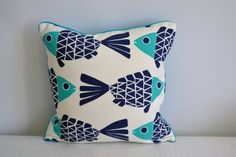 Navy and Turquoise Fish Pillow Cover by EileenandTaylor on Etsy, $28.00