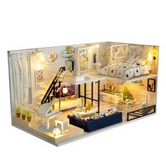 Wooden Dollhouse Kits, Diy Dollhouse, Dollhouse Furniture, Dollhouse Miniatures, Doll Furniture, Mini Doll House, Led Light Box, Led Diy, Casa Real